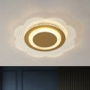 Nordic Style LED Flush Mount Gold Flower Ceiling Light Fixture with Acrylic Shade in Warm/White Light