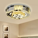 Simplicity LED Flush Mount Lamp Black Flower/Cloud/Loving Heart Ceiling Lighting with Clear Crystal Block Shade