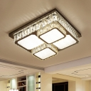 Minimal LED Flush Ceiling Light Chrome Squared Lighting Fixture with Faceted Crystal Shade in Warm/White Light