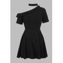 Unique Womens Dress Black Solid Color Sloping Shoulder Fold down Collar Detail Short Sleeve Short A-Line Dress