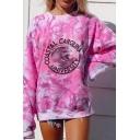 Basic Womens Pullover Sweatshirt Tie Dye Wave Letter Coastal Carolina University Pattern Loose Fit Long Sleeve Crew Neck Pullover Sweatshirt