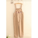 Stylish Womens Overalls Teddy Bear Embroidery Button Pocket Regular Fitted Ankle-Length Overalls