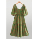 Leisure Green All Over Leaf Printed Blouson Sleeve Square Neck Ruffled Short Pleated Swing Dress for Women