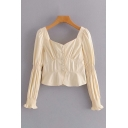 Pretty Apricot Ruched Long Sleeve Sweetheart Neck Button Up Regular Fit Crop Blouse Top for Ladies