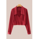 Fancy Ladies Red Long Sleeve Spread Collar Ruched Regular Fit Crop Blouse Top