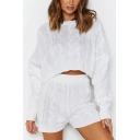 Pretty Cable Knitted Long Sleeve Crew Neck Relaxed Crop Sweater & Fitted Shorts Set