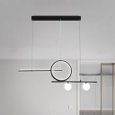 Linear and Ring LED Ceiling Light Modern Metal Black/White/Gold Chandelier Lighting Fixture