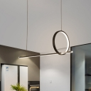 Black LED Round and Linear Multi Pendant Minimalism Metal Ceiling Pendant Light for Kitchen