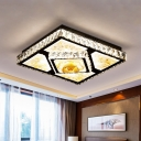 Clear Crystal Square Flush Light Fixture Modern LED Close to Ceiling Lamp in Chrome with Flower Pattern