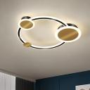Gold LED Circle Flush Mount Lighting Modernism Metallic Ceiling Fixture in Warm/White Light