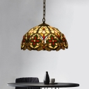 Domed Ceiling Pendant Tiffany Style Stained Glass 1 Light Green Hanging Light Fixture with Floral Pattern