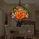 Stained Glass Bowl Ceiling Hang Fixture Mediterranean 1-Light Yellow Pendant Lighting with Blossom Pattern