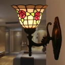 Bell Cut Glass Wall Light Sconce Baroque 1 Light Red/Pink/Blue Rose Patterned Wall Lighting Ideas for Bedroom