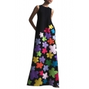 Summer Womens Chic Floral Round Neck Sleeveless Maxi Tank Dress