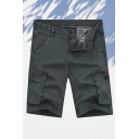 Classic Mens 3D Shorts Flap Pockets Knee-Length Zipper Fly Regular Fitted Cargo Shorts