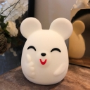 Soft Smiling Mouse Touch Night Light Kids Silica Gel White USB LED Table Lighting with Clap Color Changing Function