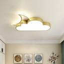 Moon Behind Cloud Ceiling Lamp Kids Acrylic Pink/Blue/Gold LED Flush Mount Recessed Lighting for Child Bedroom