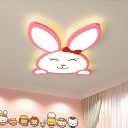 Smiling Rabbit Iron Surface Ceiling Lamp Cartoon Pink LED Flush Mount Recessed Lighting for Baby Room
