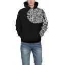 Popular 3D Hoodie Color Block Viking Myth Gem Crack Pattern Drawstring Pocket Regular Fitted Long-sleeved Hooded Sweatshirt for Men