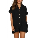 Womens Rompers Casual Plain Front Button Detail Turn-down Collar Loose Fitted Short Roll-up Sleeve Rompers