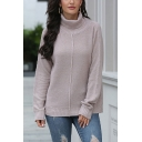 Simple Solid Color Long Sleeve Turtleneck Loose Fitted Pullover Sweater for Girls