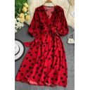 Hot Popular Womens Polka Dot Print Bow Tie Wasited Split Front Short Puff Sleeve Surplice Neck Midi A-ine Dress