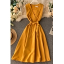 Dainty Womens Solid Color Bow Tie Waisted Back Zipped Sleeveless V-neck Midi A-line Dress