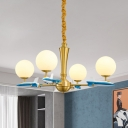Opal Glass Ball Chandelier Lamp Nordic 4 Heads Brass Hanging Ceiling Light with Airplane Deco