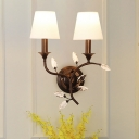 Black/Gold Candle Wall Light Modern 2 Heads Metal Wall Mount Lamp with Crystal and Cone Shade
