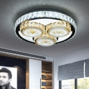 Minimal Circle Semi Flush Mount Clear Crystal Bedroom Floral Patterned LED Ceiling Lighting in Chrome