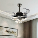 Crystal Round Hanging Fan Lighting Simple 19