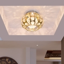 Round Lantern Cut Crystal Flush Mount Simplicity LED Gold Ceiling Lighting in Warm/White Light