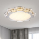 Crystal Flower/Octagon Ceiling Fixture Minimalist Stainless-Steel LED Flushmount Lighting for Living Room
