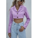 Formal Ladies Purple Long Sleeve Notched Collar Single Breasted Relaxed Crop Blazer Top