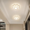 Simplicity LED Ceiling Fixture Gold Flower Flush Mount Light with Crystal Block Shade, 10