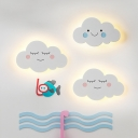 Smiling Cloud Nursery Wall Mount Light Metal Kids Style LED Wall Sconce Lighting in Pink/Blue