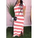 Womens Casual V-Neck Short Sleeve Striped Pockets Slit Loose T-Shirt Maxi Dress