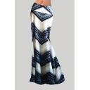 Womens 3D Skirt Trendy Abstract Zig-Zag Pattern Spandex Fabric Maxi Bodycon Skirt