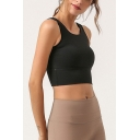 Yoga Womens Solid Color Sleeveless Scoop Neck Hollow Out Back Fitted Crop Tank Top
