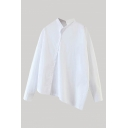 White Unique Solid Color Button Up Stand Collar Long Sleeve Asymmetric Relaxed Fit Shirt for Women