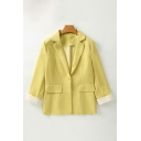 Elegant Ladies 3/4 Sleeve Notched Collar Button Up Flap Pockets Relaxed Fit Blazer