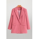 Fashion Womens Solid Color Lapel Long Sleeve Single Button Oversized Tunic Blazer with Pockets