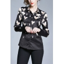 Retro All Over Flower Printed Single Breasted Turn-down Collar Long Sleeve Regular Fit Shirt for Women