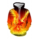 Active Modern Style 3D Print Phoenix Pocket Drawstring Hooded Long Sleeve Plus Size Hoodie
