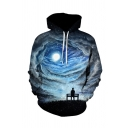 Mens Unique Hoodie Figure Moon Bench Grass Starry Sky Abstract Cloud 3D Print Pocket Drawstring Fitted Long Sleeve Hoodie