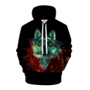 Mens Fashionable Hoodie Wolf Abstract 3D Print Pocket Drawstring Fitted Long Sleeve Hoodie in Black