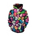 Creative Mens Hoodie Coloured All over Skull 3D Pattern Drawstring Long Sleeve Regular Fitted Hoodie with Pocket