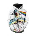 Mens Unique Hoodie Wall Floral Rainbow Figure Circle Mask Embryo 3D Print Pocket Drawstring Fitted Long Sleeve Hoodie in White