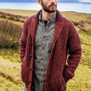 Mens Leisure Shawl Collar Long Sleeve Button Front Loose Fit Chunky Knit Brown Cardigan