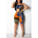Womens 3D Rompers Unique Tie Dye Front Cut-out Strapless Knee Length Skinny Fitted Rompers